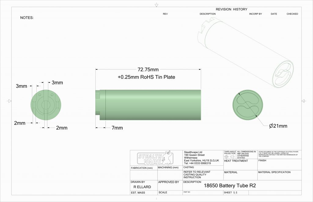 Stealthvape 18650 technical drawing and dimensions