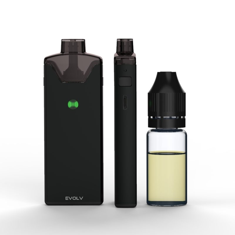 Evolv Reflex with 10ml eliquid bottle for scale