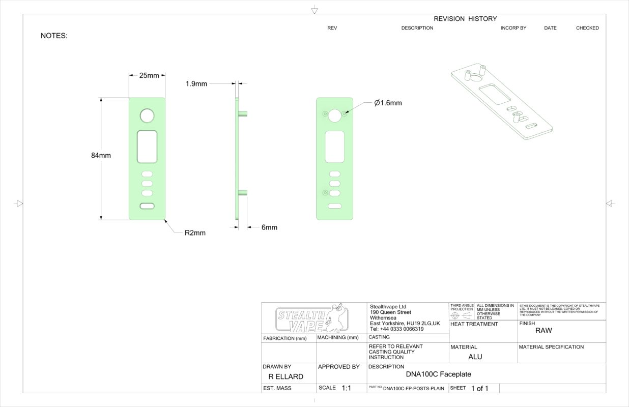 DNA100C Faceplate technical drawing